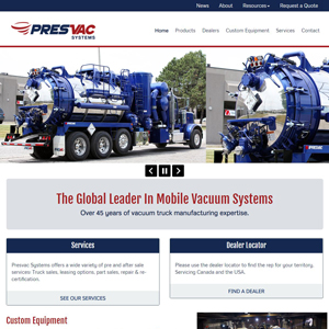 Presvac Systems - Website